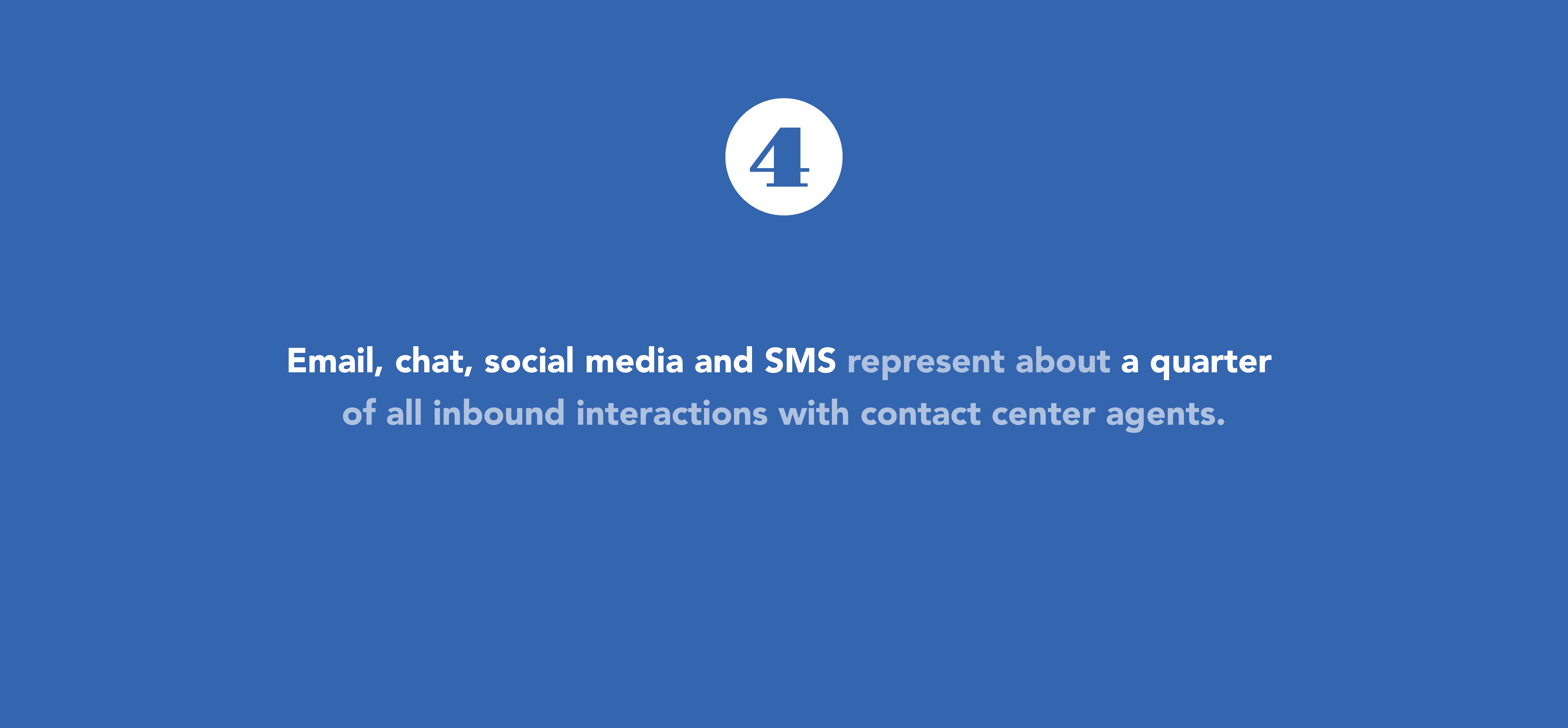 email, chat, social represent about 25 percent of customer service interactions
