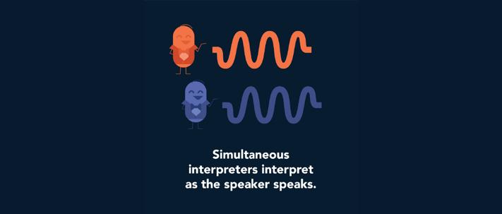Simultaneous interpreters interpret as the speaker speaks