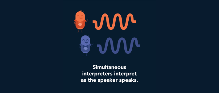 Simultaneous interpreters interpret as the speaker speaks