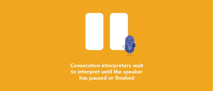 Consecutive interpreters wait for the speaker to pause
