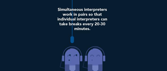 Simultaneous interpreters work in pairs.