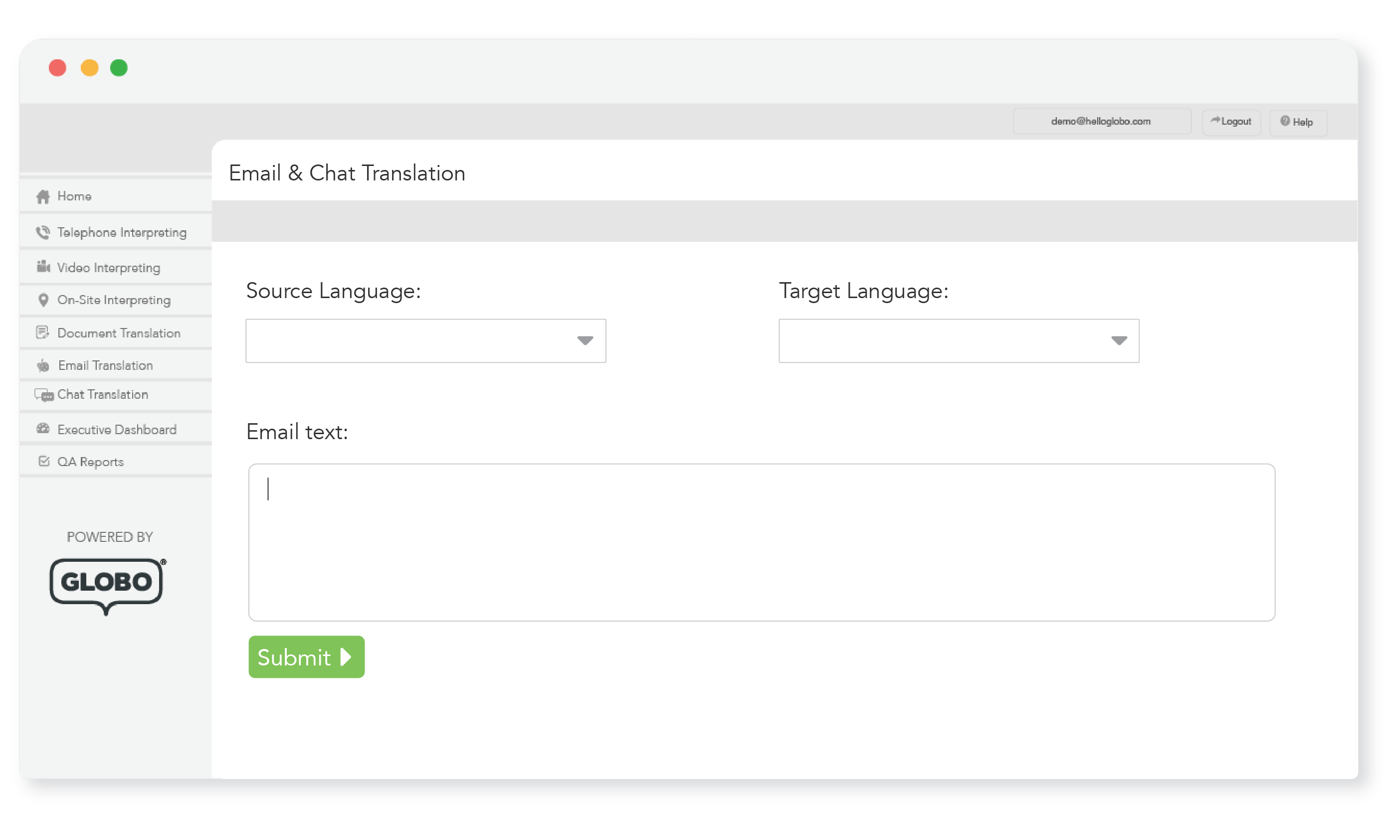 Email and chat translation